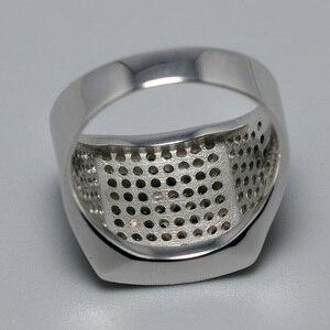 Image 3 - 925 סטרלינג כסף Mens שחור CZ אבן טבעת יוקרה גברים של חתונה טבעות מיקרו סלול מעוקב זירקון טורקיה תכשיטי אנל masculino