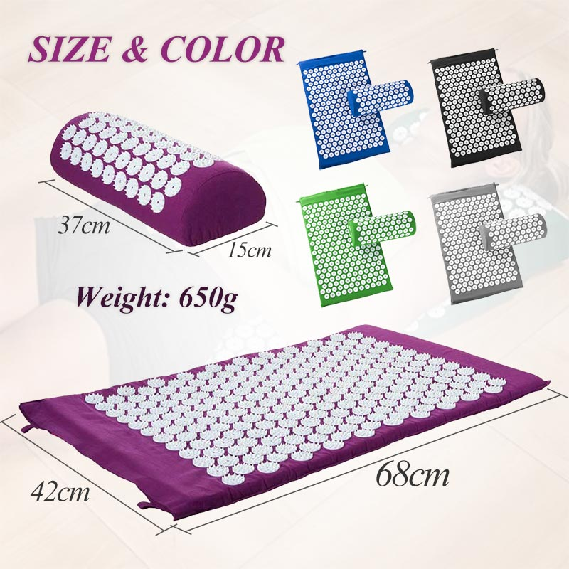 Non-Slip Acupressure Cushion Massage Mat Body Pain Spike Fitness Pilates Exercise Pillow Yoga Mat Gift Bag Applicator 1
