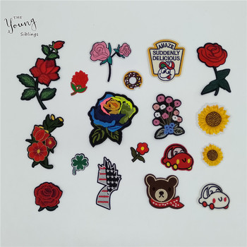 New arrive Embroidery Flower Applique Hot melt adhesive Sewing Stripe Patch Badges DIY Iron on patch Kids Clothing Accessories image