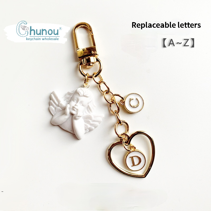 Creative Plaster Angel Keychain  A-Z Letters Initial  Keychain Pendant Airpod Earphone Protective Sleeve Accessories Friend gift