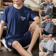 Conjuntos de pijamas masculinos de verão, conjunto de pijama simples, para dormir, de algodão, manga curta, para homens uso externo