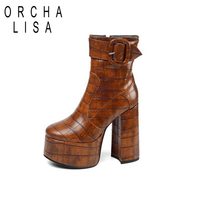 ORCHA LISA Ankle Boots Cowboy Round Toe Square Thick High Heels Extrem high Platform Leather Zipper Bukle size 43 Autumn Party