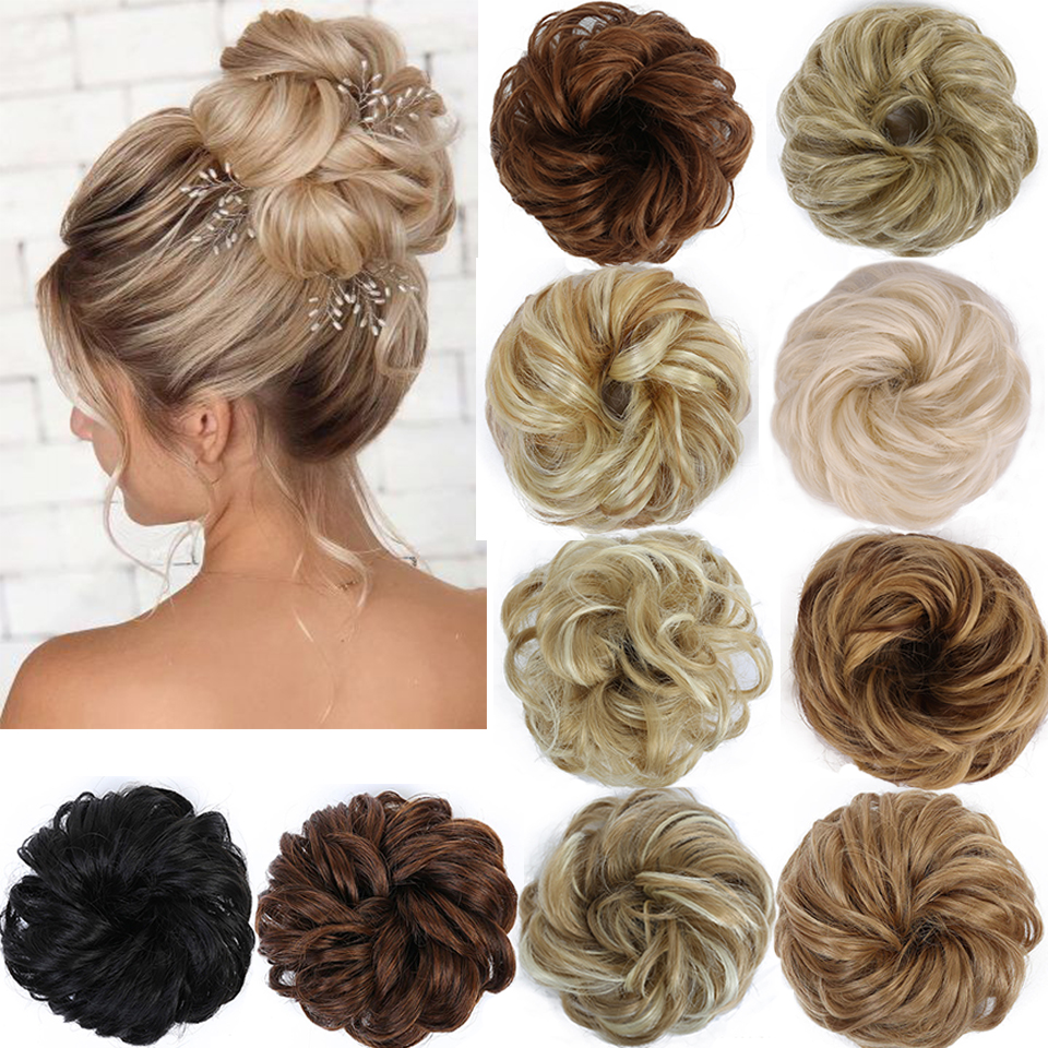 AILIADE Women Girl Headwear Messy Chignon Donut Gary Brown Hair Bun Pad Elastic Hair Rope Rubber Band Hair Extensions