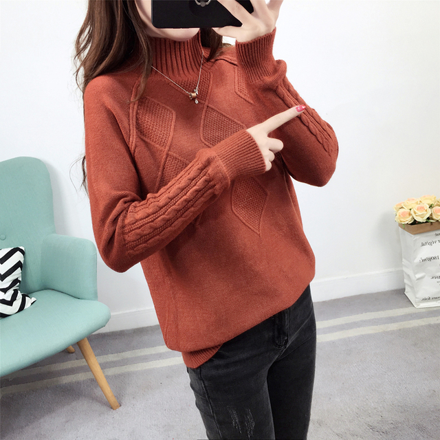 Ailegogo Sweaters 2019 Autumn Winter Solid Thick Turtleneck Casual Ladies Knitted Sweater Pullovers Women's Jumpers Tops 6
