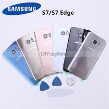 Capa traseira da bateria para samsung galaxy s7 g930/s7 edge g975 substituição de vidro traseiro com lente da câmera + adesivo