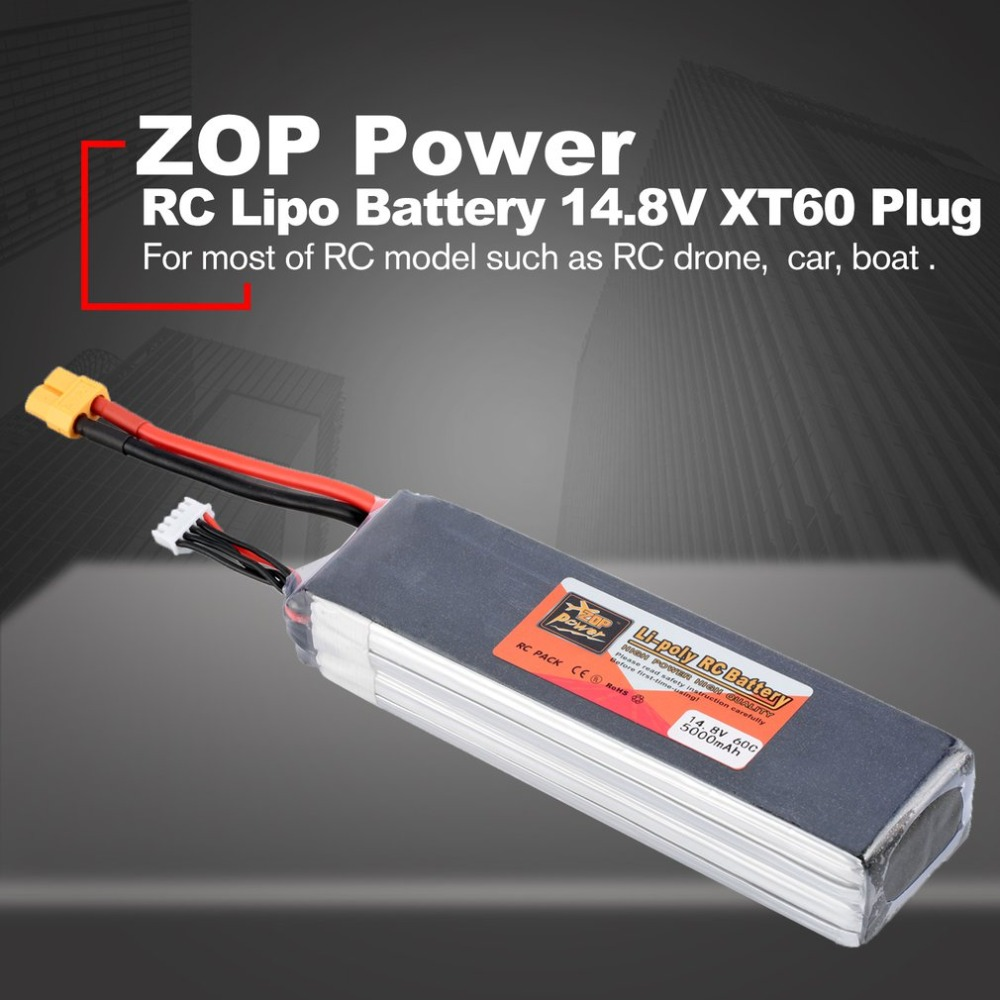 ZOP Power 14.8V <font><b>5000mAh</b></font> 60C <font><b>4S</b></font> 1P <font><b>Lipo</b></font> <font><b>Battery</b></font> XT60 Rechargeable for RC Racing Drone Quadcopter Helicopter Car Boat image