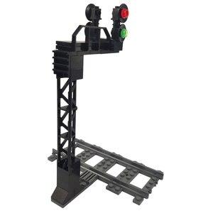 Создатель Moc кирпичи светофоры игрушка модель пластиковый дорожный фонарь модель миниатюрная детская игра Забавный набор совместимый город