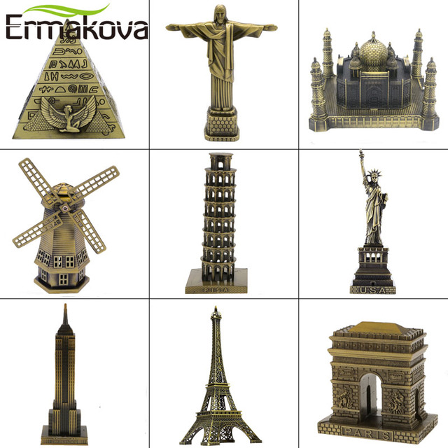 ERMAKOVA Metal Architecture Figurine World Famous Landmark Building Souvenir Statue Home Office Desktop Decor Christmas Gift 1