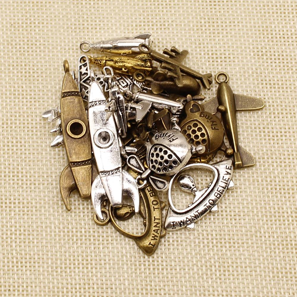 30 Pieces Airplane Rocket Helicopter Ufo Fighter Hot Air Balloon Random Mixed No Designated Charms Pendant Accessories Jewelry image