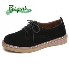 PEIPAH Genuine Leather Shoes Woman Spring/Autumn Platform Ladies Flats Casual Round Toe Women Lace Up New Arrival Female Shoes недорого
