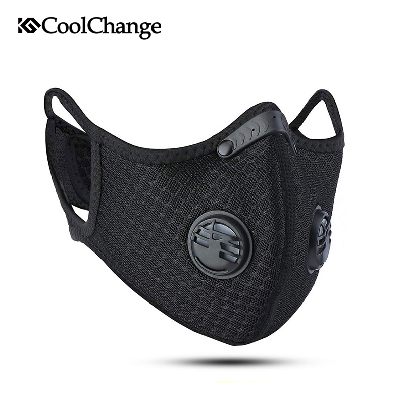 CoolChange Cycling Face Mask KN95 Anti-pollution Sport Training Bicycle Bike Dust Mask Activated Carbon With Filter