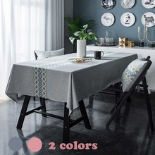 Embroidery Flower Table Cloth Cotton/Linen Tablecloth Solid Color Rectangule Dining/Coffee Table Cover Pastoral Grey/Pink