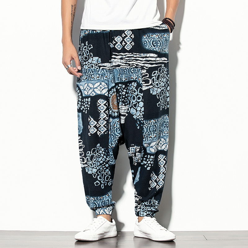 -Autumn And Winter Men Ethnic-Style Casual Trousers Loose-Fit Printed Bouquet Feet Harem Pants Sub-