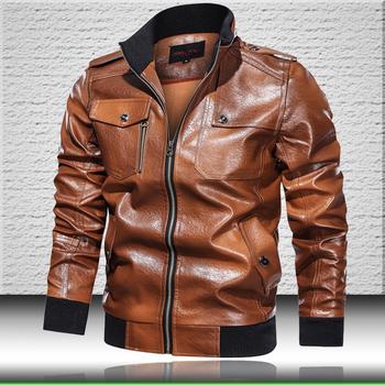 Vintage skórzana kurtka mężczyźni 2020 Faux skórzana kurtka Bomber mężczyzna brązowa skórzana kurtka jesień mężczyzna stanąć kołnierz płaszcz na co dzień tanie i dobre opinie CALUOMATT STANDARD Faux leather NONE Poliester casual leather jacket men Stałe REGULAR zipper Pełna