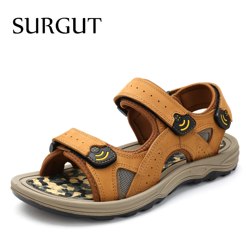 SURGUT Classic Men's Sandals Summer Soft Sandals Comfortable Men Shoes Genuine Leather Big Size Soft Outdoor Men Roman Sandals