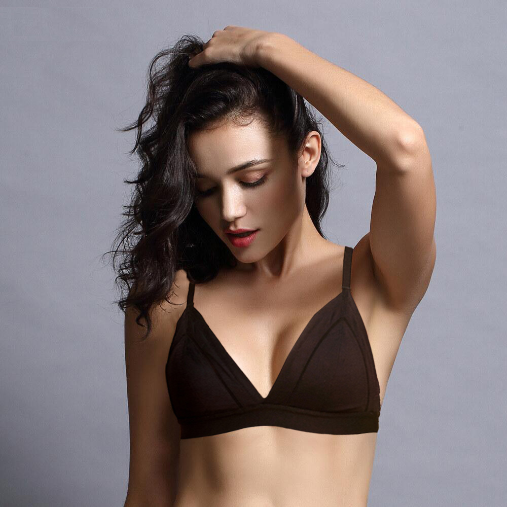 Womens Lingerie Wireless Ultra-thin Bralette Underwear Triangle Deep V Sexy Bras Gathered Seamless Push Up Bra 1