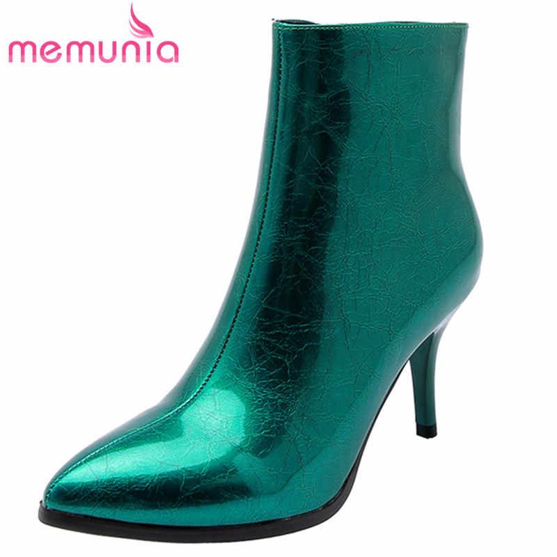 MEMUNIA 2020 yeni moda Chelsea çizmeler sivri burun sonbahar kış yüksek topuklu ayakkabılar zip seksi yarım çizmeler kadın büyük boy 43