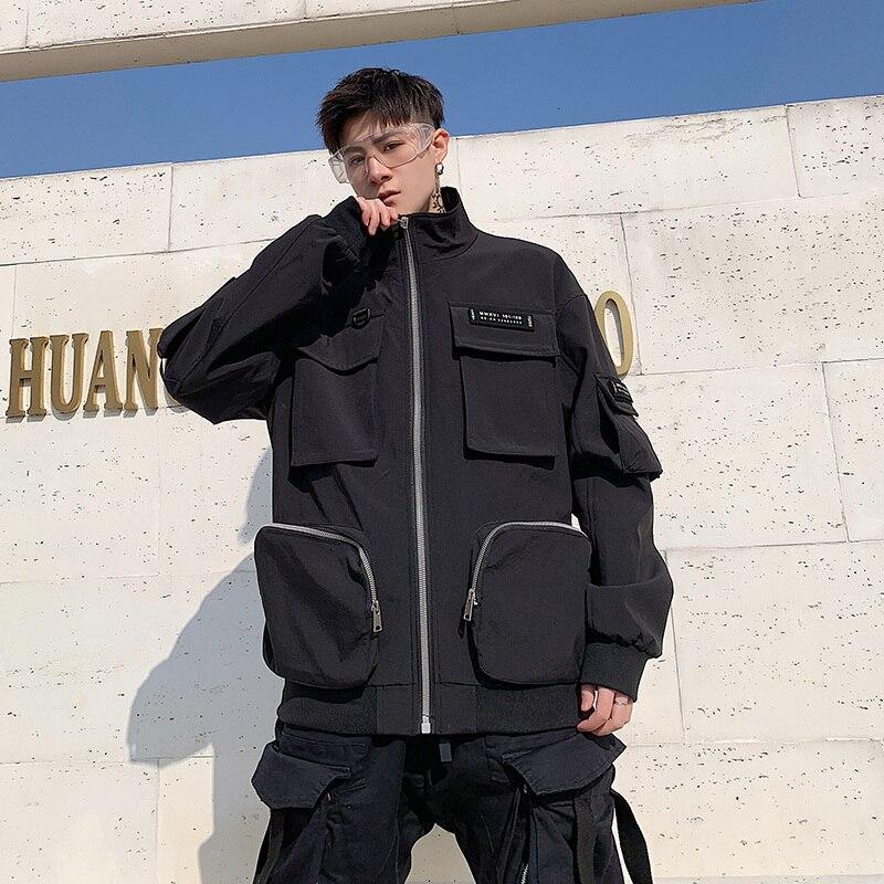 YUECHEN automne et hiver nouveaux hommes décontracté outillage revers manchette manches veste Zipper quatre poches Design Polyester multicolore