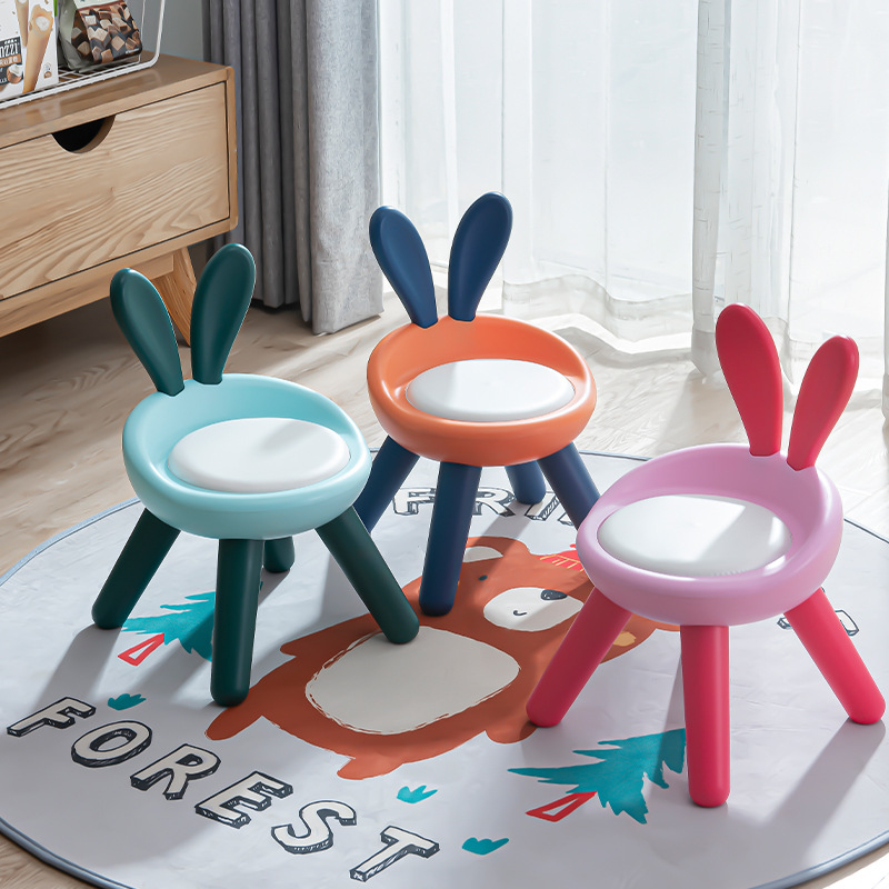 Plastic Step Stool with Back Support, Anti Slip 4- Foot Step Stool for Kids Toddler Child Cute Pet Rabbit Chair
