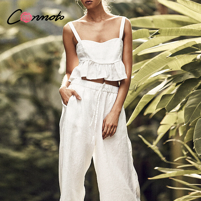 Conmoto Ruffles Sexy Twist White Jumpsuits Romper Women Summer Beach 2020 Plus Size Jumpsuits Rompers 2 Pieces Backless Jumpsuit