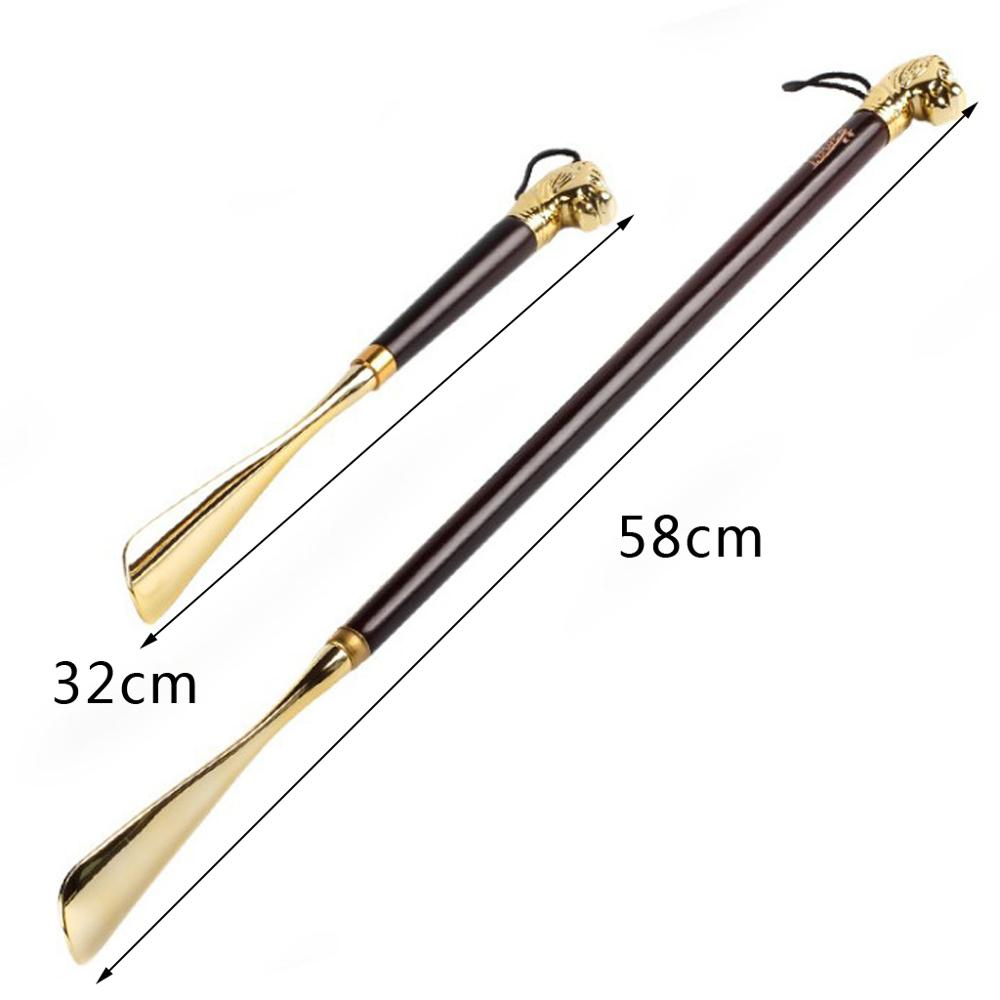 Unisex Long Handle Metal Shoe Horn With Lion Head 49cm(19.30in)