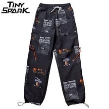 2019 estate Pantaloni Hip Hip Pant Star Degli Uomini di Stampa Harajuku Sweatpant Streetwear Moda Casual Pantaloni Pista Pantaloni di Sudore Pantaloni Bianco