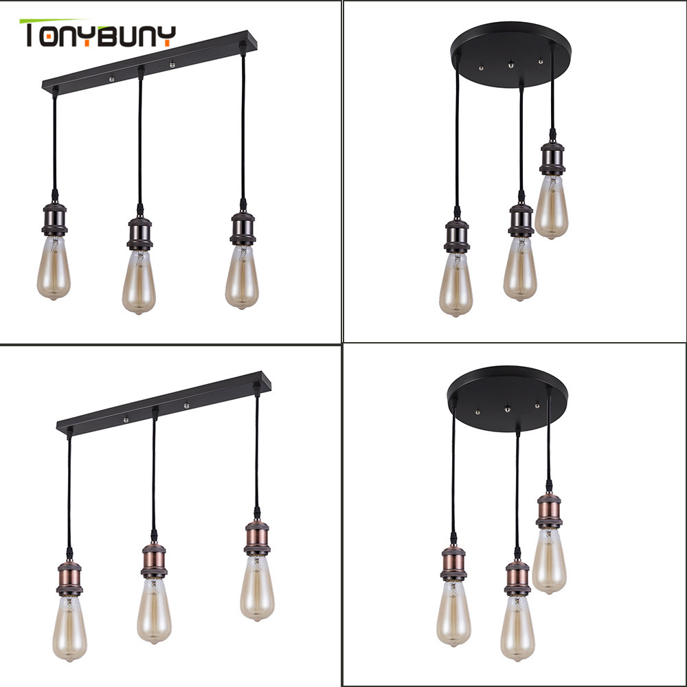 Retro Industrial Loft LED Bar Pendent Lamp E27 Socket Pendant Lights Aluminum Dining Room Pendent Lights Kitchen Hanging Lamps