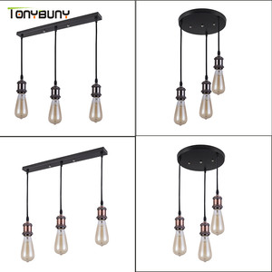 Retro Industrial Loft LED Bar Pendent Lamp E27 Socket Pendant lights Aluminum Dining Room Pendent Lights Kitchen Hanging Lamps|Pendant Lights| |  -