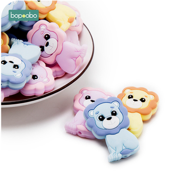 Bopoobo 10pcs Food Grade Silicone Mini Lion Beads Baby Teethers Bpa Free Baby Chewable Teething For DIY Necklace Rodents Beads bopoobo 20pc silicone mini crown beads baby teething beads silicone grass pearls food grade silicone rodents baby teether