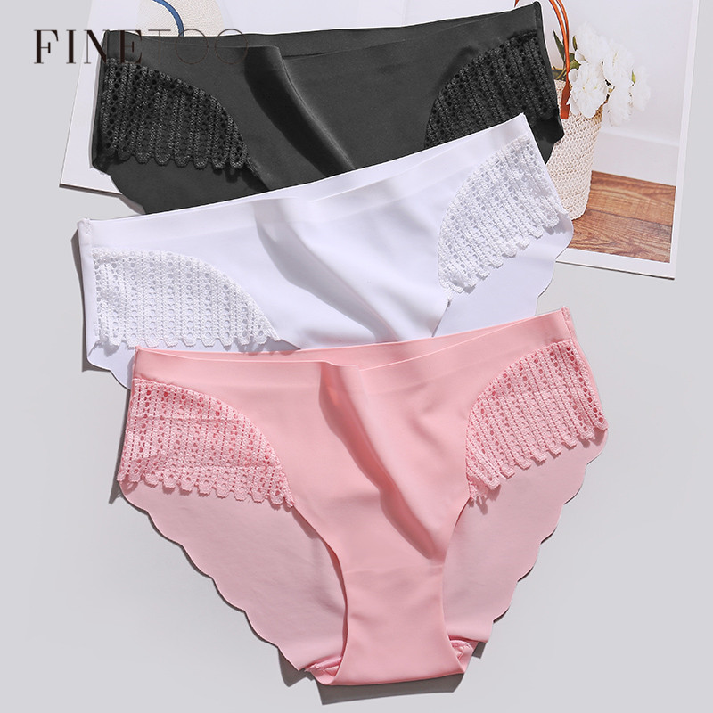 Women Ice Silk Panties Seamless Briefs 2Pcs/Set Sexy Lace Underwear Low Waist Female Lingerie Panty Ladies Soft Underpants S-XL
