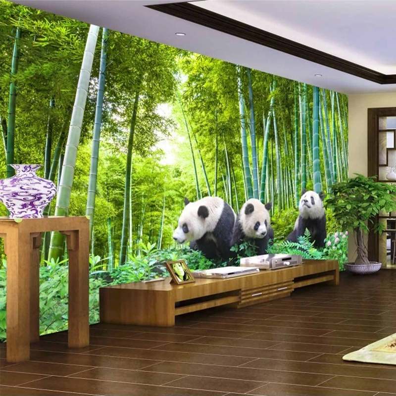 Custom 3D Photo Wallpaper Panda Bamboo Forest TV Background Wall Mural Living Room Bedroom Landscape Painting Wallpapers Modern