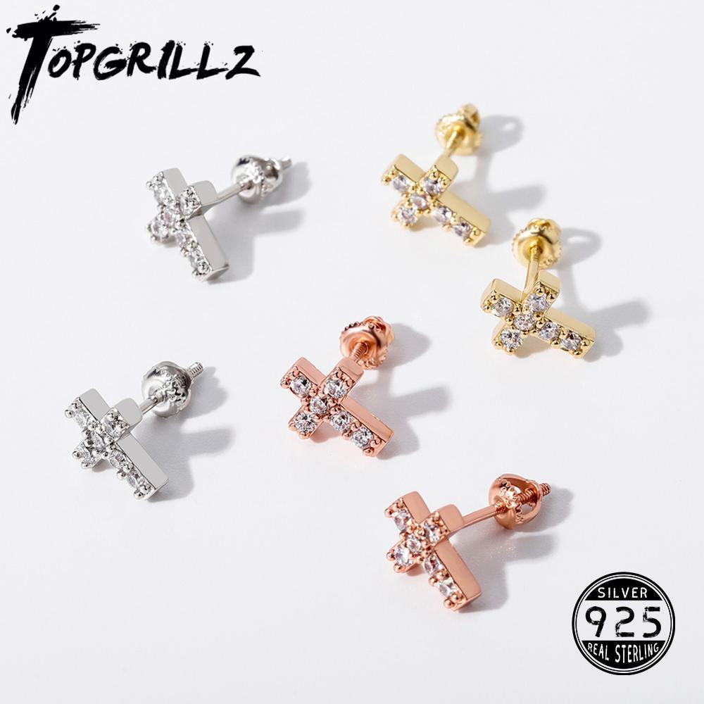 TOPGRILLZ Minimalist 925 Silver Cubic Zirconia Stud Earrings For Women Simple Geometric Cross Earrings Hip Hop Fashion Jewelry