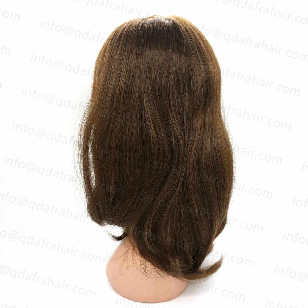 Hstonir żydowska peruka jesień Juwish Sheitel Silk Top Perruque Demi Tete Cheveux Humain europejskie włosy Remy JW03