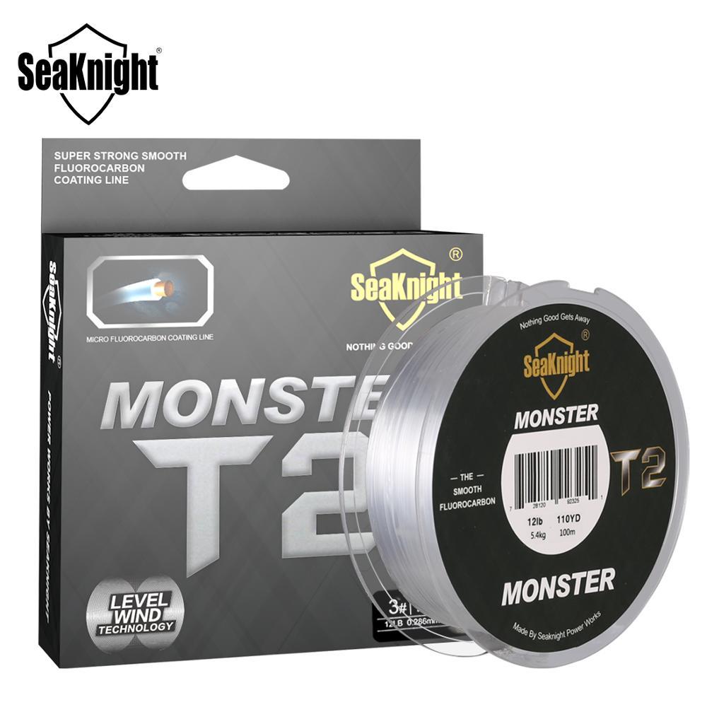 Seaknight monstro t2 100% duplo fluorocarbon linha de pesca 100m fluorocarbon linha afundando para a pesca da carpa