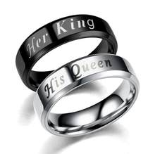 Silver Black Stainless steel His Queen Her King Fashion Couple lover Promise Ring for Women Man Unisex(China)