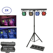 цена на Led Par Kit 4Pcs 7x10W 4IN1 RGBW Led Slim Flat Par Lights With Light Stand DMX Bar Foot Controller Bag Package Set For Data Show