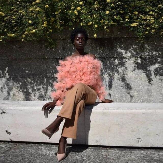 Трендовая блуза из органзы с длинным рукавом и открытыми плечами, рубашки для женщин, 2020 гофрированные пышные тюлевые Формальные вечерние т...
