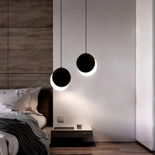 Simply Creative Half Moon LED Pendant Light Bedroom Bedside Hanging Lamp Dining Room Lighting Fixture 3 Colors Switchable