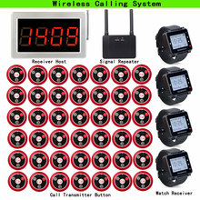 Restaurant Pager Wireless Waiter Calling System 1 Receiver Host+4 Watch Receiver + 1pcs Signal Repeater + 42 Call Button T117 цена