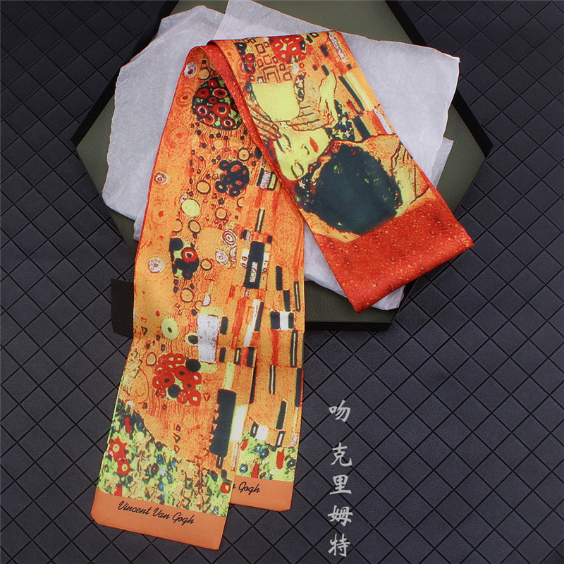 Gustav Klimt《The Kiss》Oil Painting Twill Silk Scarf Women Neckerchief Skinny Bag Scarf Female Headband Scarves Wraps For Ladies