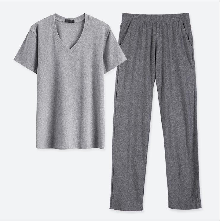 T-Shirts Sleepwear Pajamas-Set Short-Sleeves Home-Wear-Sets Cotton Collar Solid V-Neck