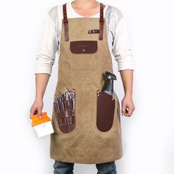WEEYI Barber Apron Men Women Waxed Canvas Apron For Hairdresser Leather Pockets Unisex Vintage Salon Apron delantal peluquera