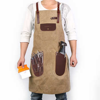 WEEYI Barber Apron Men Women Waxed Canvas Apron For Hairdresser Leather Pockets Unisex Vintage Salon Apron delantal peluquera - DISCOUNT ITEM  31% OFF All Category
