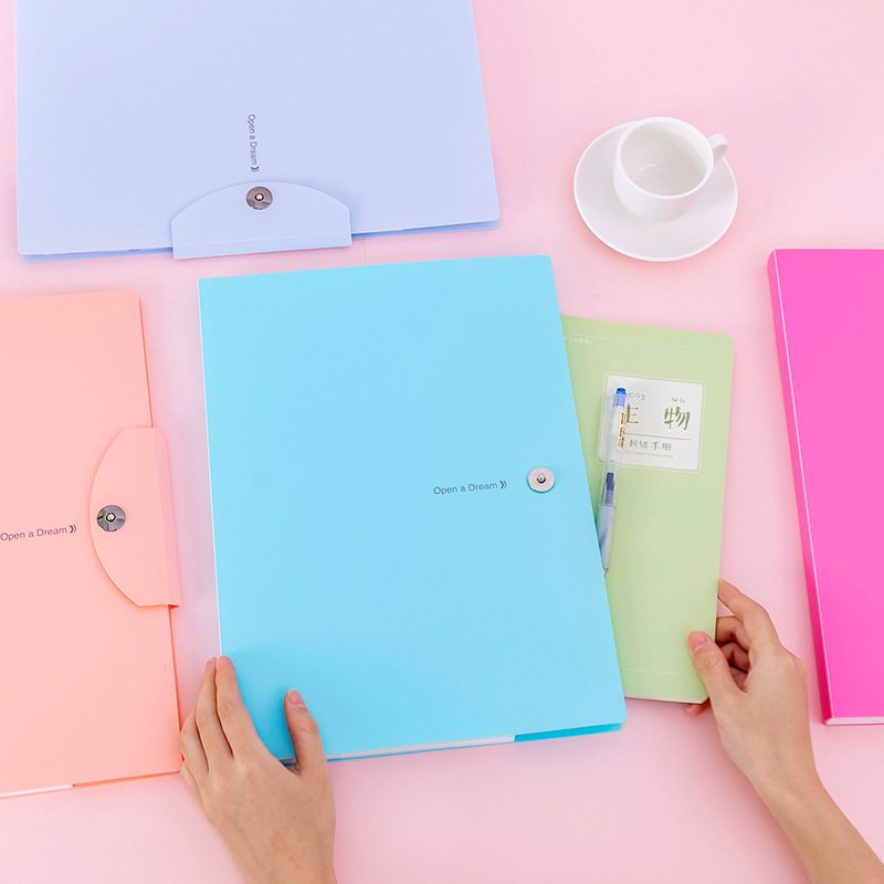 32.5x23.7cm Pure Color A4 File Box  File Folders  Pvc Document  Bag For Paper Bags 5layers Candy Color File Storage
