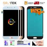 100% super amoled lcd para samsung galaxy a7 2017 a720 a720f SM-A720F display lcd de tela toque digitador assembléia