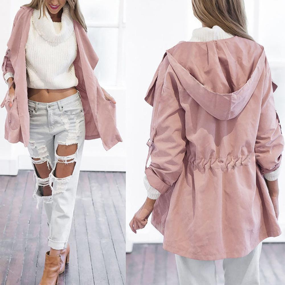 Autumn Casual Women Solid Color Waist Cord Lapel Hooded Trench Coat With Pockets
