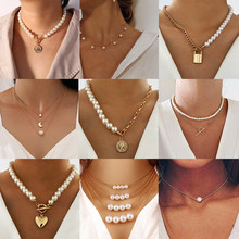 Yobest Vintage Baroque Irregular Pearl Lock Chains Necklace 2021 Geometric Aangel Pendant Love Necklaces for Women Punk Jewelry