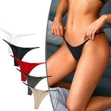 Tangas de tirantes finos para mujer, ropa interior de talla grande, Bikini de tiro bajo con parte trasera en T, lencería S-XL