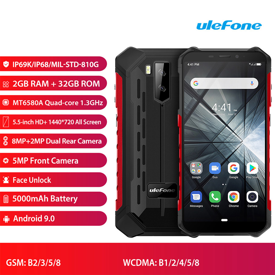 "Image 2 - Ulefone Armor X3 5.5""HD MT6580 Android 9.0 IP68 Rugged Smartphone 18:9 Quad Core 2GB 32GB 13MP 5000mAh 5V/1A Mobile Phone-in Cellphones from Cellphones & Telecommunications"