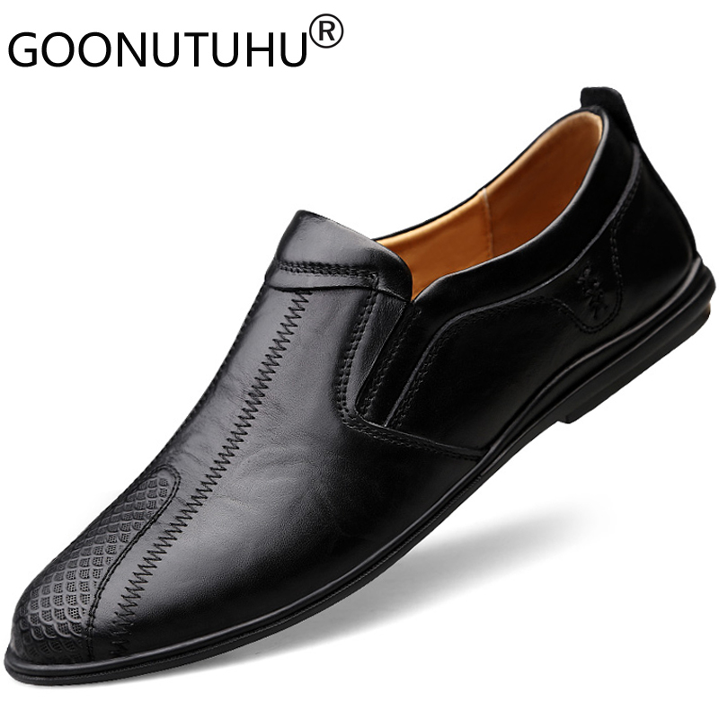 2019 New Style Fashion Men's Shoes Casual Genuine Leather Male Loafers Brown & Black Slip On Shoe Man Nice Driving Shoes For Men